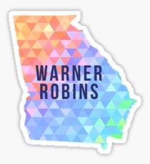 Warner Robins, Georgia Multi-Colored Geometry Pattern State Silhouette Sticker