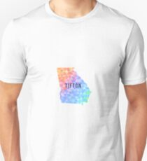 Tifton, Georgia Multi-Colored Geometry Pattern State Silhouette T-Shirt