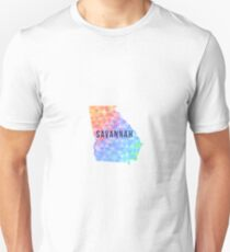 Savannah, Georgia Multi-Colored Geometry Pattern State Silhouette T-Shirt