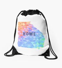 Home - Georgia Multi-Colored Geometry Pattern State Silhouette Drawstring Bag
