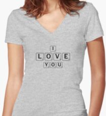 """Cute """"I Love You"""" Scrabble Tiles- For Couples, Best Friends Women's Fitted V-Neck T-Shirt"""