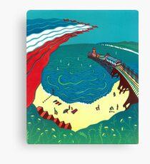 Red Arrows, Bournemouth Beach - Original linocut by Francesca Whetnall Canvas Print