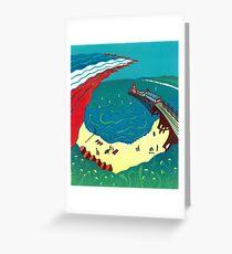 Red Arrows, Bournemouth Beach - Original linocut by Francesca Whetnall Greeting Card