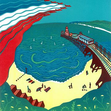 Red Arrows, Bournemouth Beach - Original linocut by Francesca Whetnall by Cecca-Designs