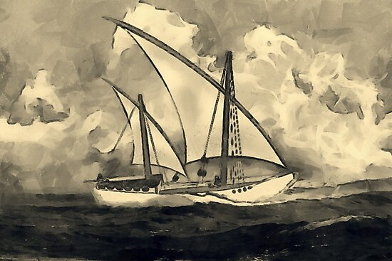 A sepia digital painting of An Ancient Arab Dhow by Dennis Melling