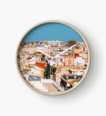 Aerial Panoramic View Of Valencia City In Spain Clock