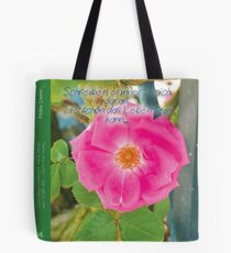 pink flower with saying & quot; Writing reminds me .... & quot; Tote Bag