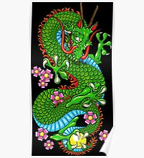 Green Cherry Blossom Dragon Tattoo Poster