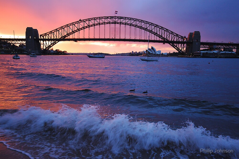 Morning Wake - Sydney Harbour, Sydney Australia by Philip Johnson
