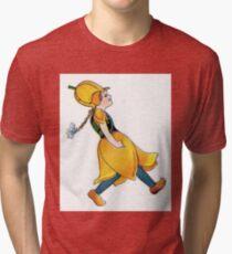 Cute Vintage Flower Child Yellow Orange Tulip Girl Tri-blend T-Shirt