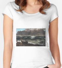 Gustave Courbet - The Wave 1869 1 Women's Fitted Scoop T-Shirt