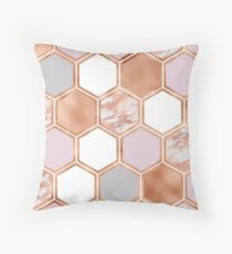 Mixed rose gold pinks and marble geometric Throw Pillow