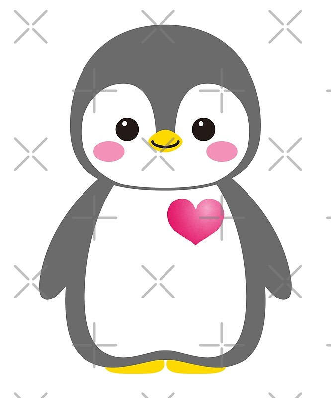 Quot Baby Penguin Cute Smile Emoji Pink Heart Quot Posters By