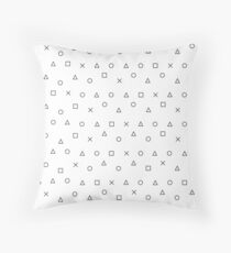 gaming pattern - gamer design - playstation controller symbols  Throw Pillow