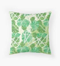 Two Tone Light Tropical Forest Throw Pillow