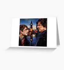John and Sherlock in London Greeting Card