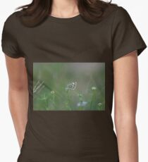 butterfly on a flower  Womens Fitted T-Shirt