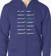 Airbus A350 Operators Illustration - Blue Version Zipped Hoodie