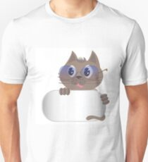 gray cat with glasses Unisex T-Shirt