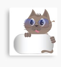 gray cat with glasses Canvas Print