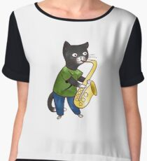 Jazzy Boy Kitten Playing Saxophone Chiffon Top