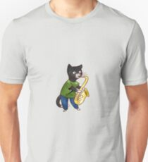 Jazzy Boy Kitten Playing Saxophone T-Shirt