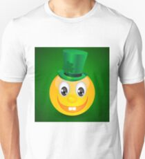 Yellow smile isolated on gradient on green background Unisex T-Shirt