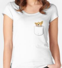 Pocket Corgi Pup Women's Fitted Scoop T-Shirt