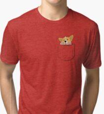 Pocket Corgi Pup Tri-blend T-Shirt