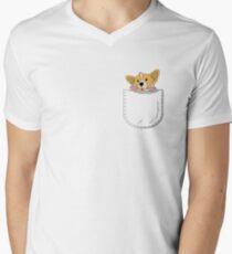 Pocket Corgi Pup Men's V-Neck T-Shirt