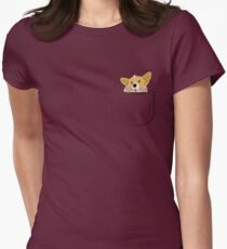 Pocket Corgi Pup Womens Fitted T-Shirt
