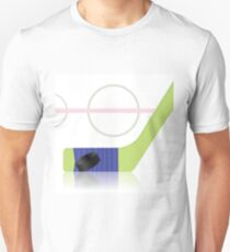 Hockey Game Icon witn Black Washer and Wooden Stick on Ice Field Unisex T-Shirt