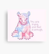 """""""You Are Trying, and That's Enough"""" Baby Cherry Blossom Hippo Metal Print"""