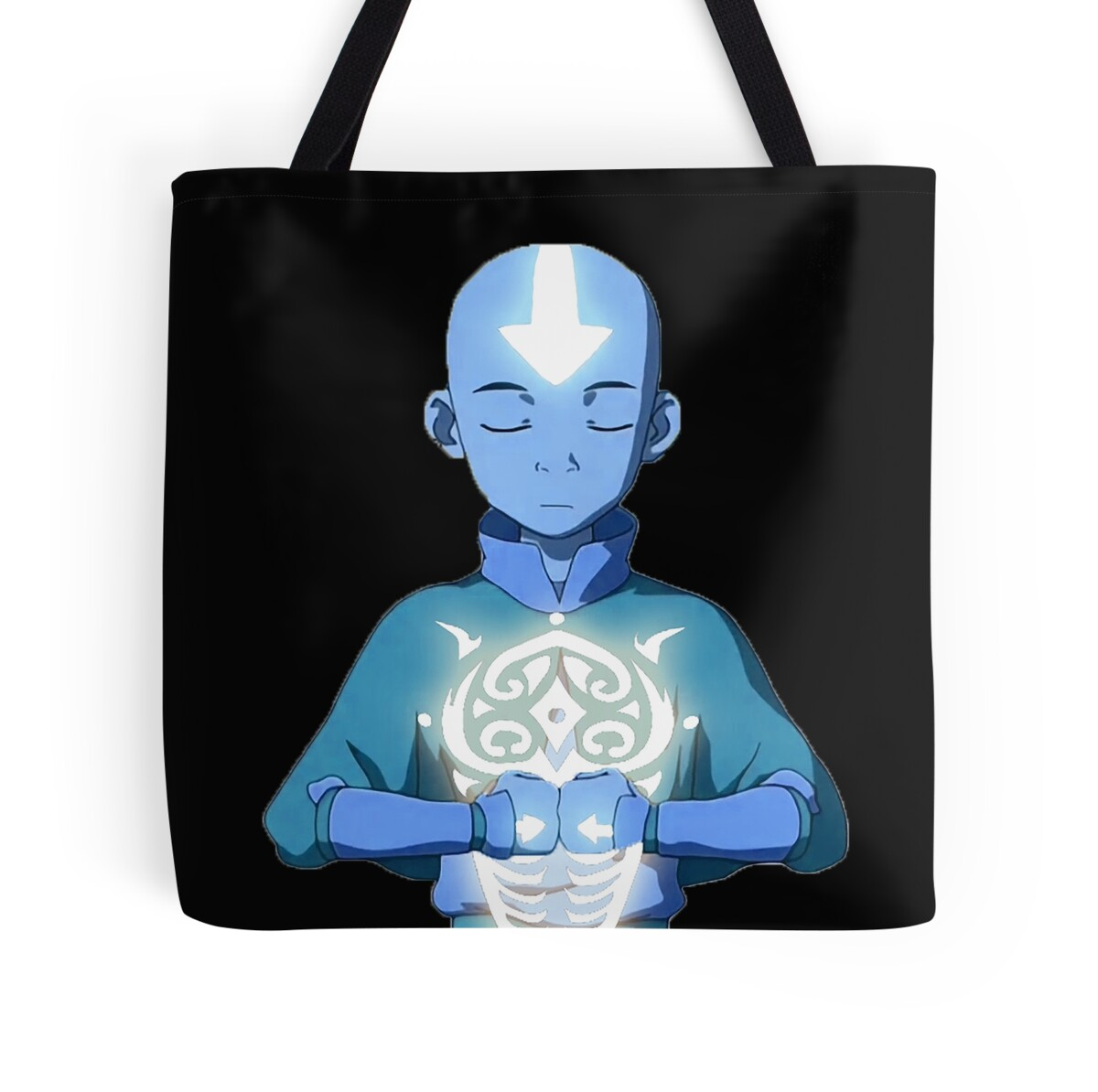 """Movie Avatar State Aang: """"Aang's Avatar State With Raava"""" Tote Bags By Grinalass"""