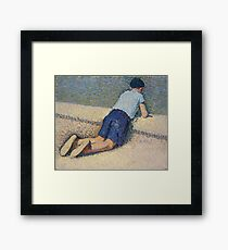 Henri Martin - The Boy Laying On The Board Of The Pool At The Garden Of Luxembourg At Paris, 1932-35 Framed Print