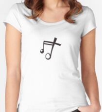 Music Song Symbol Musical Note - White Women's Fitted Scoop T-Shirt