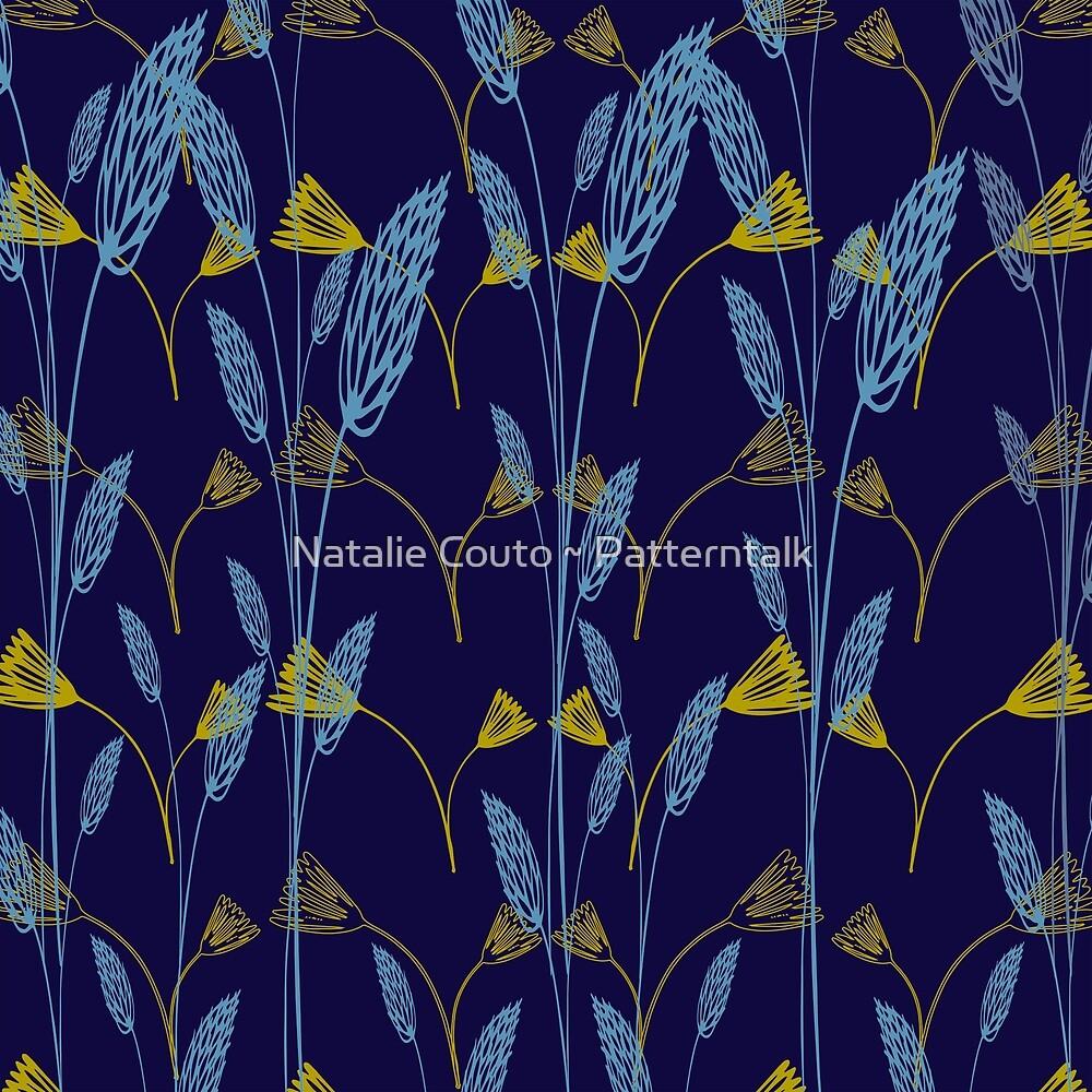 Wildgrasses-navy by Natalie Couto ~ Patterntalk