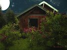 Lilac Cottage by Moonlight by RC deWinter