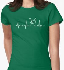 Heavy metal heartbeat Womens Fitted T-Shirt