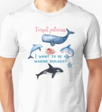 Forget Princess I Want To Be A Marine Biologist Kids T-Shirt Unisex T-Shirt