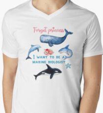 Vergessen Sie Prinzessin, die ich ein Marinebiologen-Kindert-shirt sein möchte T-Shirt mit V-Ausschnitt