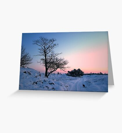 Walking in the snow landscape Greeting Card