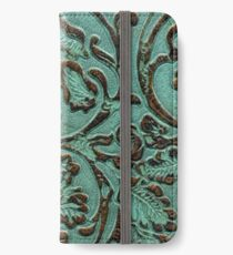 Aqua Flowers Tooled Leather iPhone Wallet/Case/Skin
