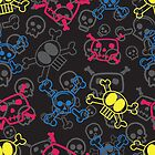 Cartoon Colorful Skulls surface Pattern by Artwork and Photography