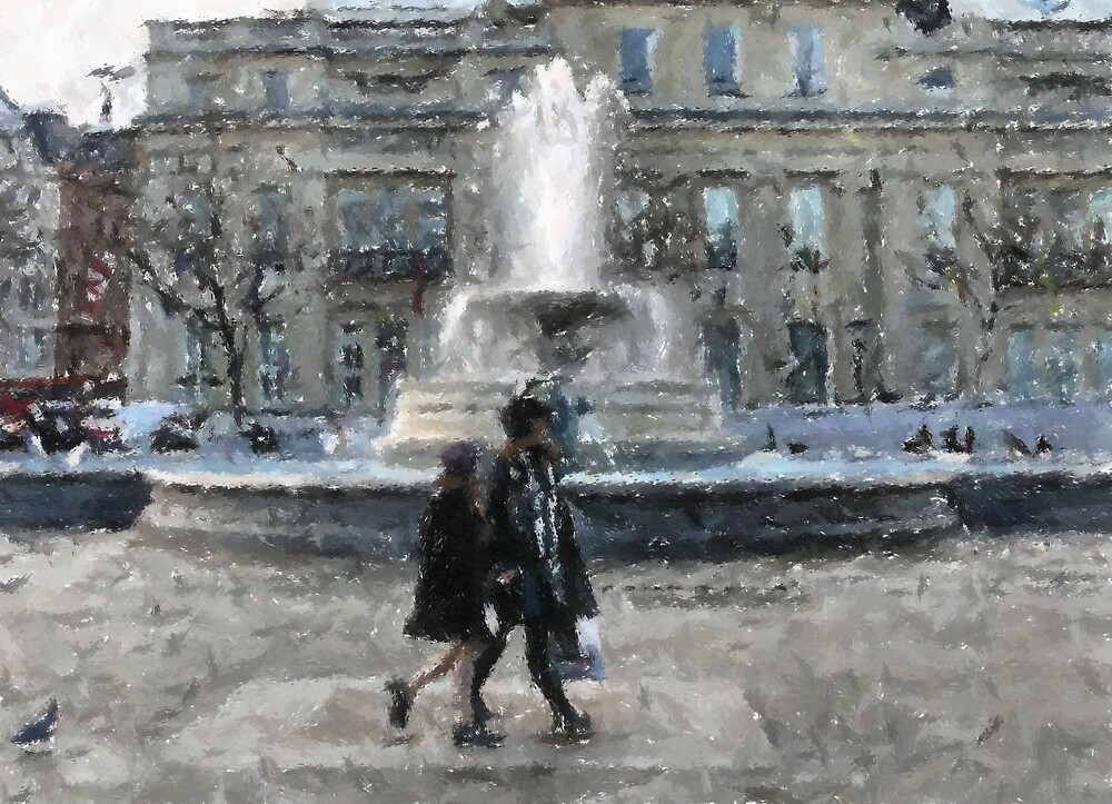 Walking in Trafalgar Square by mmrich