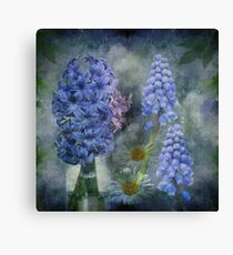 Spring flowers on a grunge painterly background Canvas Print