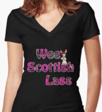 Wee Scottish Lass Pink Women's Fitted V-Neck T-Shirt