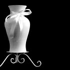 Vase With White Bow by Sandra Foster