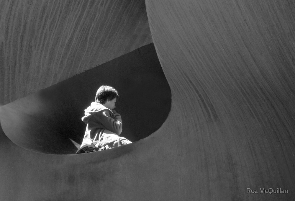 Child inside sculpture, Southbank, Melbourne by Roz McQuillan