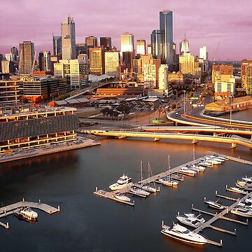 Melbourne city and Docklands at sunset by rozmcq